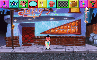 Leisure Suit Larry 1 VGA remake, Lefty's Bar exterior. The icon bar is showing.