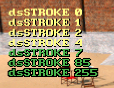 Demonstration of stroked text.